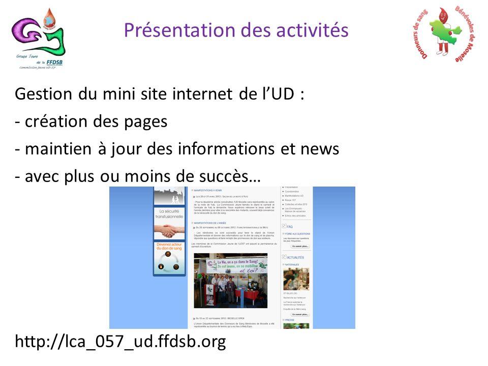 Gestion du mini site internet de lUD : - création des pages - maintien à jour des informations et news - avec plus ou moins de succès… http://lca_057_ud.ffdsb.org Présentation des activités