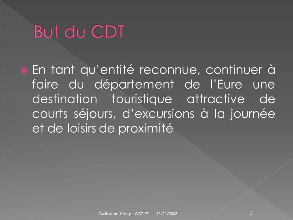 Dans lEure, 70,8 % des séjours personnels sont des séjours inférieurs à 4 jours contre 58,3% sur le territoire français, ce qui traduit une durée moyenne de séjours égale à 3,1 jours contre 5 jours en moyenne française 11/11/2008 Guillaume Henry - CDT 27 14