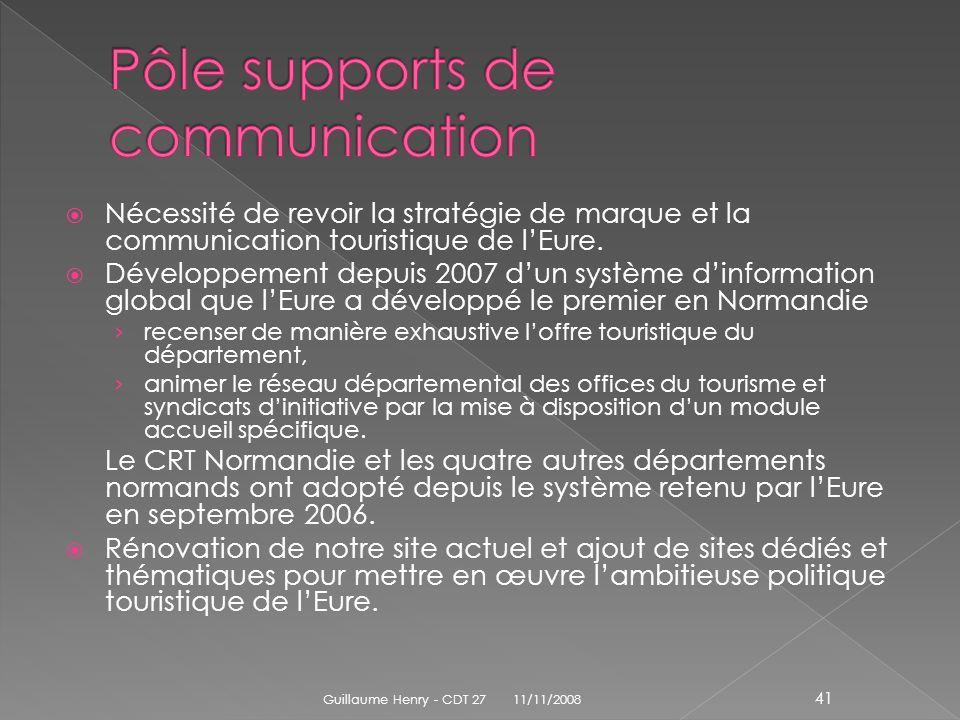 Nécessité de revoir la stratégie de marque et la communication touristique de lEure. Développement depuis 2007 dun système dinformation global que lEu