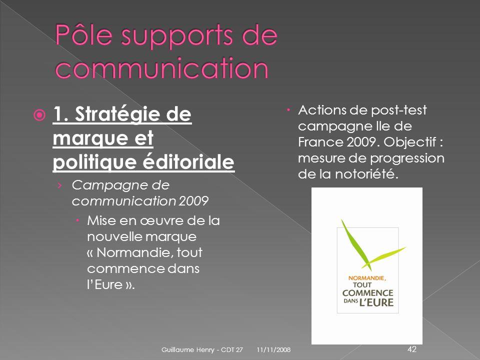 1. Stratégie de marque et politique éditoriale Campagne de communication 2009 Mise en œuvre de la nouvelle marque « Normandie, tout commence dans lEur