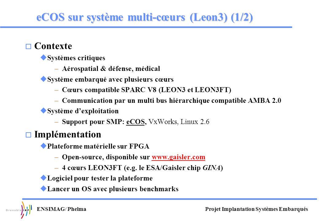 Projet Implantation Systèmes EmbarquésENSIMAG/ Phelma eCOS sur système multi-cœurs (Leon3) (1/2) o Contexte uSystèmes critiques –Aérospatial & défense