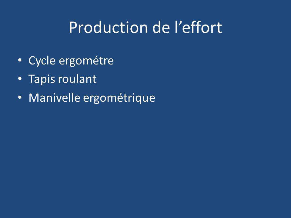 Production de leffort Cycle ergométre Tapis roulant Manivelle ergométrique