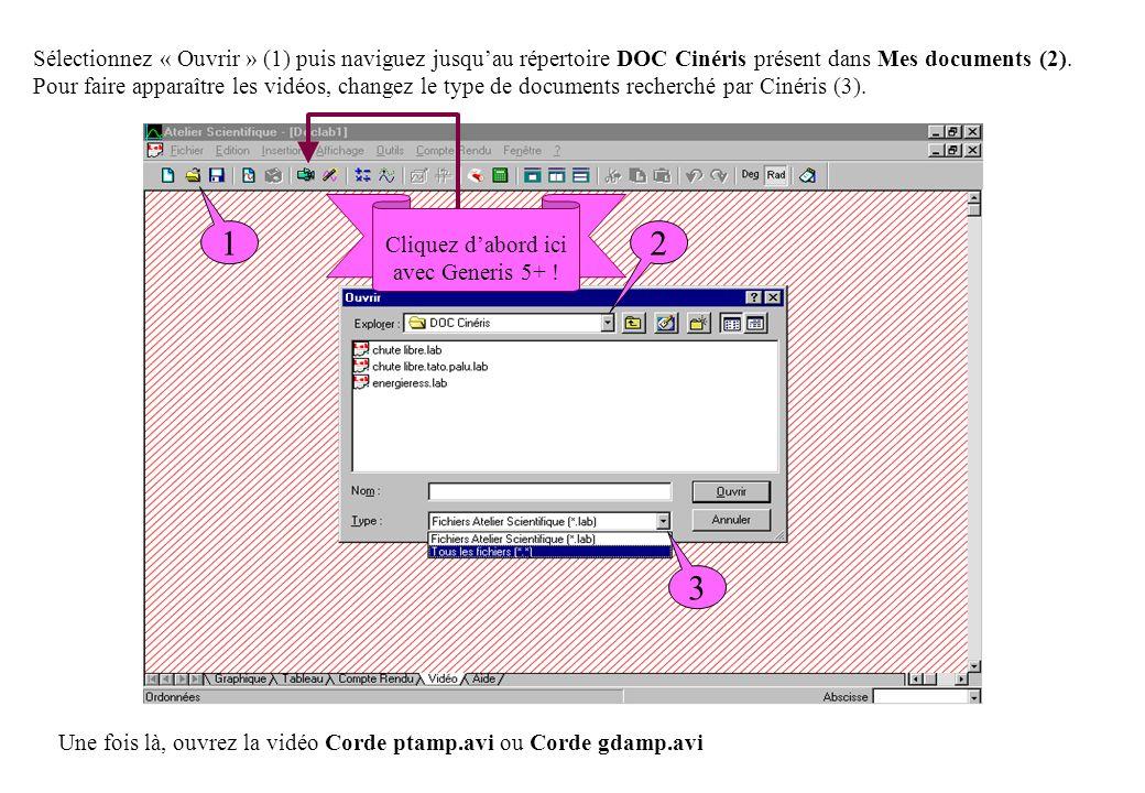 Sélectionnez « Ouvrir » (1) puis naviguez jusquau répertoire DOC Cinéris présent dans Mes documents (2). Pour faire apparaître les vidéos, changez le