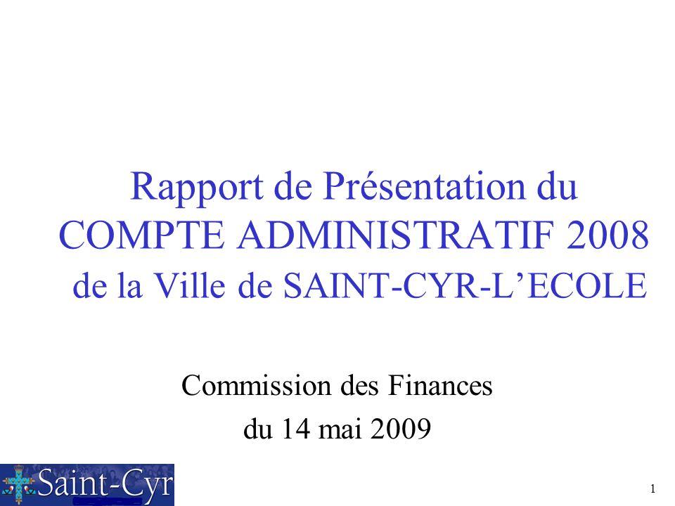 1 Rapport de Présentation du COMPTE ADMINISTRATIF 2008 de la Ville de SAINT-CYR-LECOLE Commission des Finances du 14 mai 2009