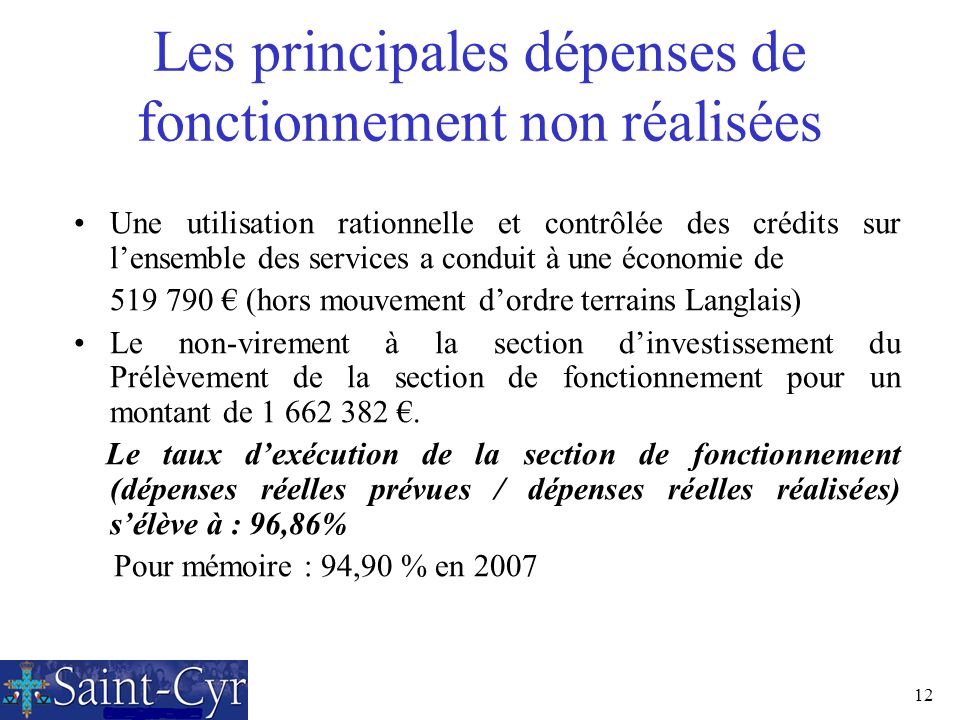 12 Les principales dépenses de fonctionnement non réalisées Une utilisation rationnelle et contrôlée des crédits sur lensemble des services a conduit