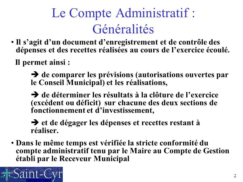 2 Le Compte Administratif : Généralités Il sagit dun document denregistrement et de contrôle des dépenses et des recettes réalisées au cours de lexerc