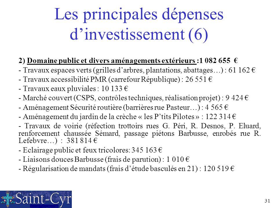 31 Les principales dépenses dinvestissement (6) 2) Domaine public et divers aménagements extérieurs :1 082 655 - Travaux espaces verts (grilles darbre