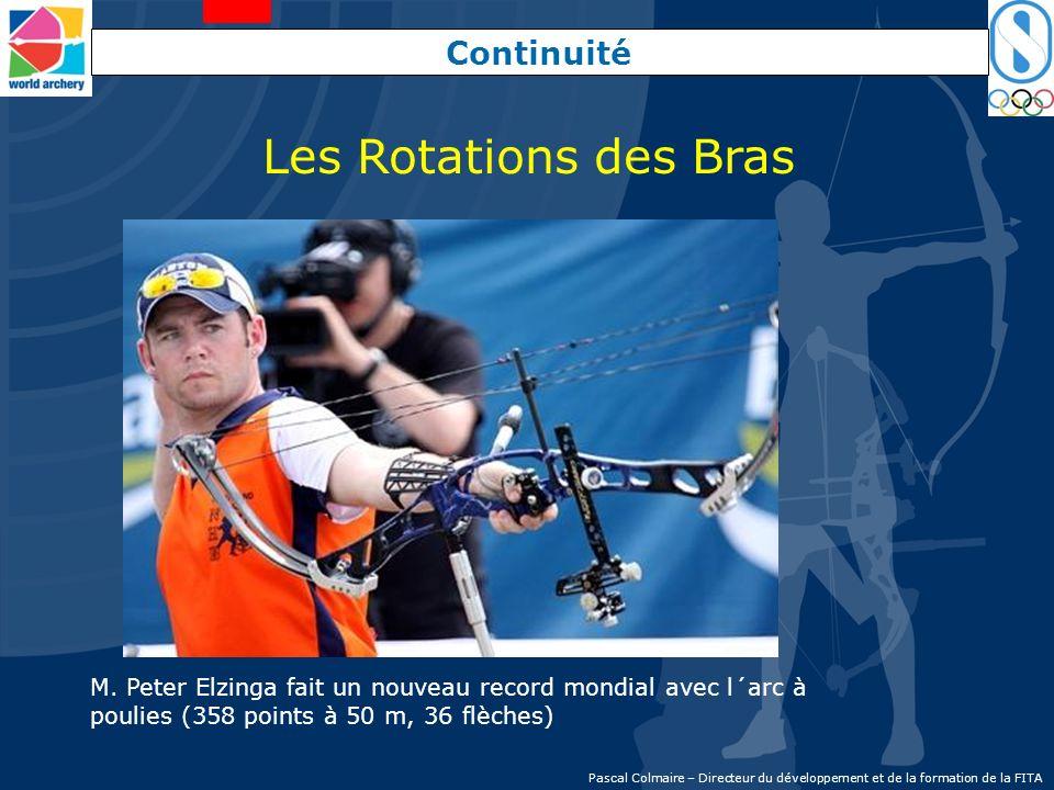 Continuité Les Rotations des Bras M. Peter Elzinga fait un nouveau record mondial avec l´arc à poulies (358 points à 50 m, 36 flèches) Pascal Colmaire
