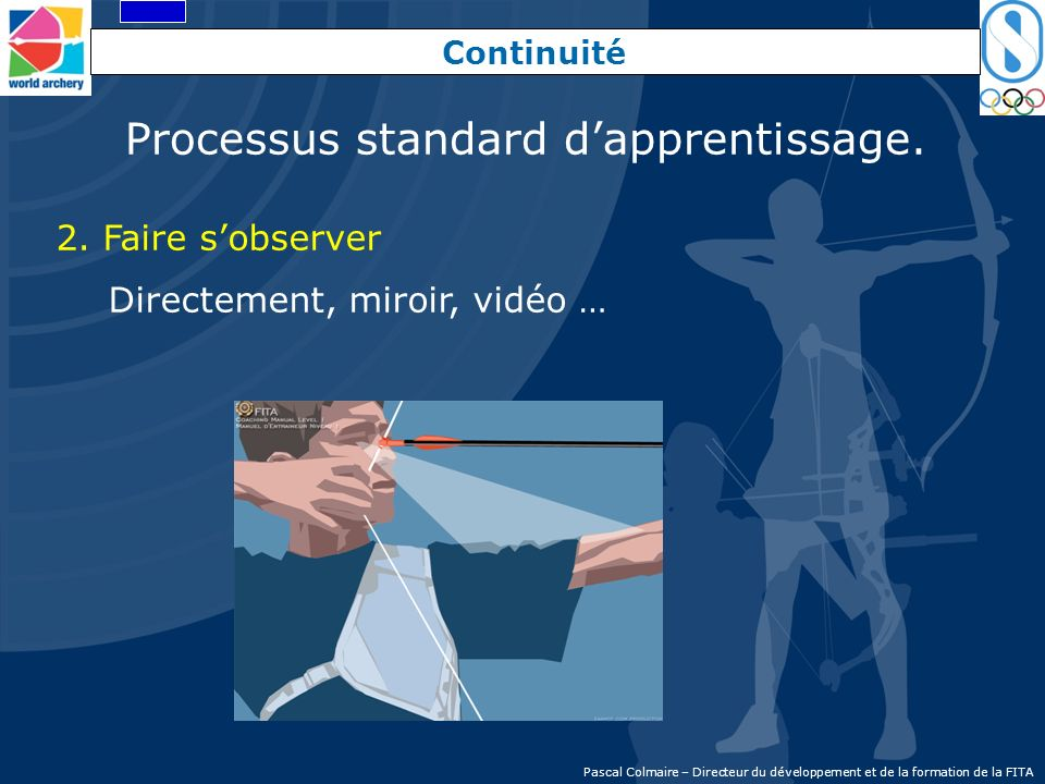 Continuité 2. Faire sobserver Directement, miroir, vidéo … Processus standard dapprentissage. Pascal Colmaire – Directeur du développement et de la fo