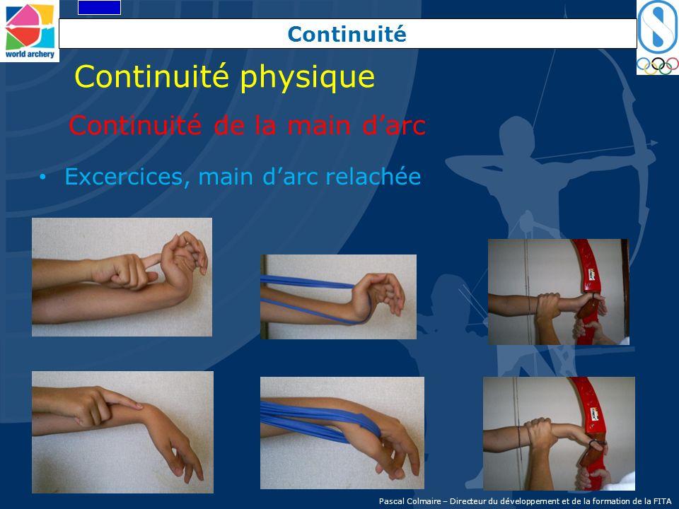 Continuité Excercices, main darc relachée Continuité physique Continuité de la main darc Pascal Colmaire – Directeur du développement et de la formati