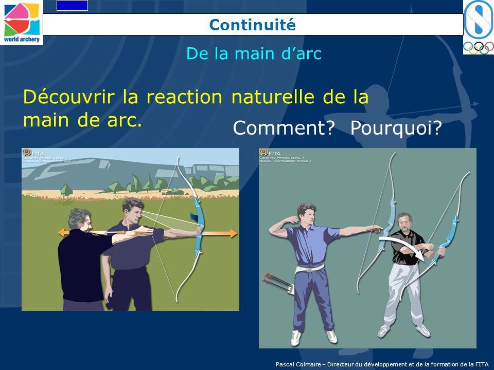 Continuité Découvrir la reaction naturelle de la main de arc. Comment? Pourquoi? De la main darc Pascal Colmaire – Directeur du développement et de la