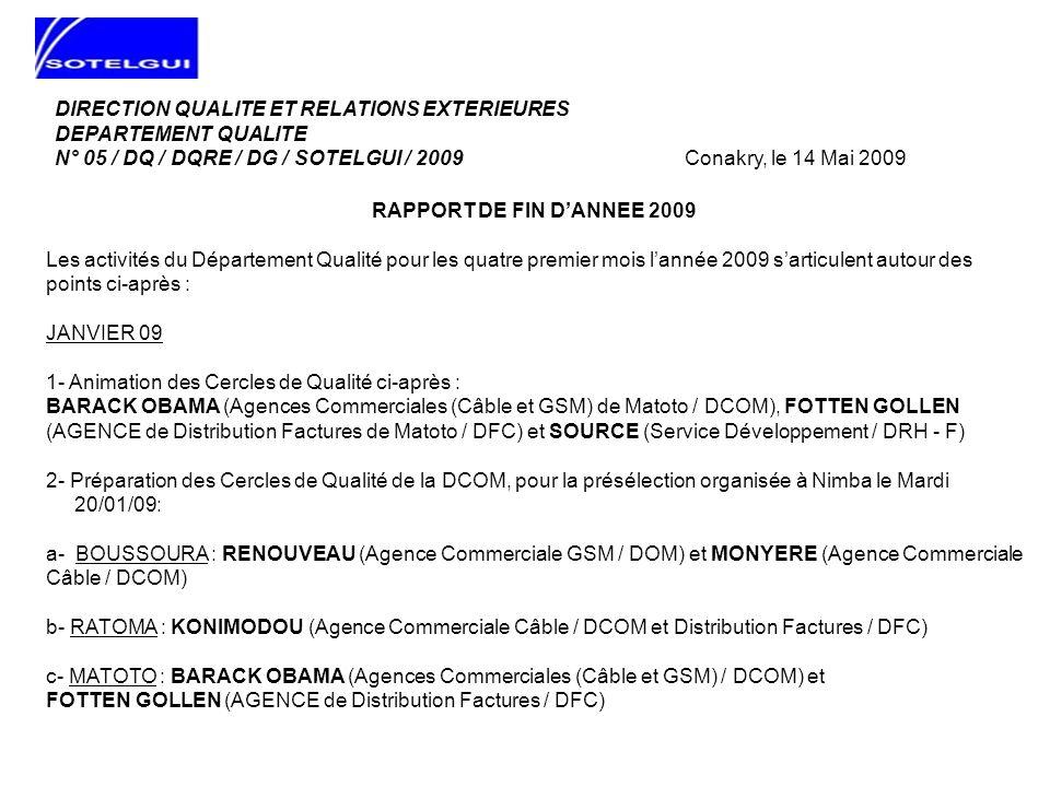 JANVIER 09 (SUITE) 3- Présentation pour validation des travaux de 2008 des Cercles de Qualité de la DCOM devant leur Comité de Qualité, organisée le Mardi 27/01/09 à Nimba de 14H 30 à 16H 30: a- BOUSSOURA : RENOUVEAU (Agence Commerciale GSM / DOM) et MONYERE (Agence Commerciale Câble / DCOM) b- RATOMA : KONIMODOU (Agence Commerciale Câble / DCOM et Distribution Factures / DFC) c- MATOTO : BARACK OBAMA (Agences Commerciales (Câble et GSM) / DCOM) et FOTTEN GOLLEN (AGENCE de Distribution Factures / DFC)