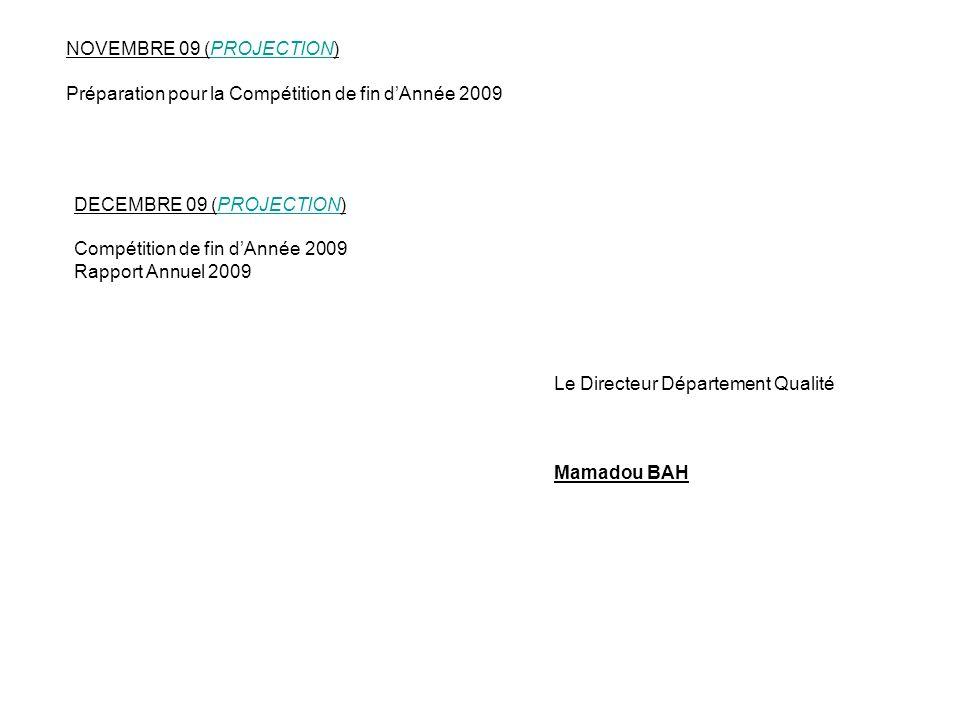 NOVEMBRE 09 (PROJECTION) Préparation pour la Compétition de fin dAnnée 2009 DECEMBRE 09 (PROJECTION) Compétition de fin dAnnée 2009 Rapport Annuel 200