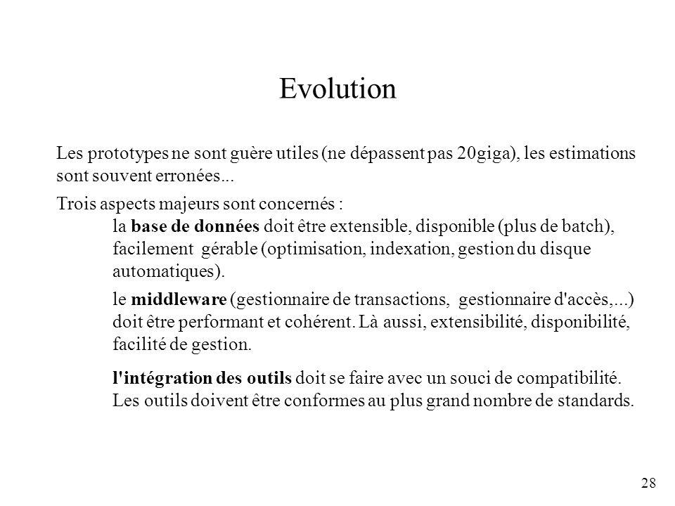 28 Evolution Les prototypes ne sont guère utiles (ne dépassent pas 20giga), les estimations sont souvent erronées... Trois aspects majeurs sont concer