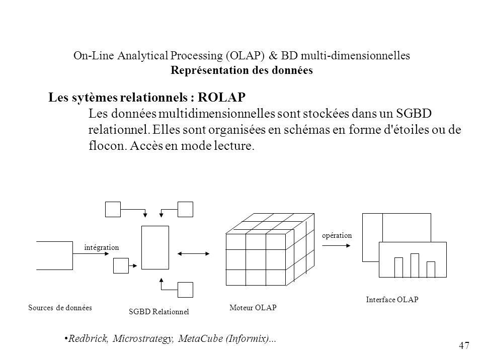 47 On-Line Analytical Processing (OLAP) & BD multi-dimensionnelles Représentation des données Les sytèmes relationnels : ROLAP Les données multidimens