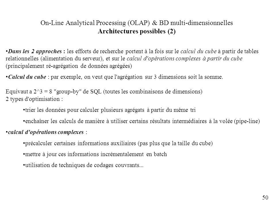 50 On-Line Analytical Processing (OLAP) & BD multi-dimensionnelles Architectures possibles (2) Dans les 2 approches : les efforts de recherche portent