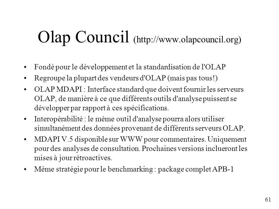 61 Olap Council (http://www.olapcouncil.org) Fondé pour le développement et la standardisation de l'OLAP Regroupe la plupart des vendeurs d'OLAP (mais
