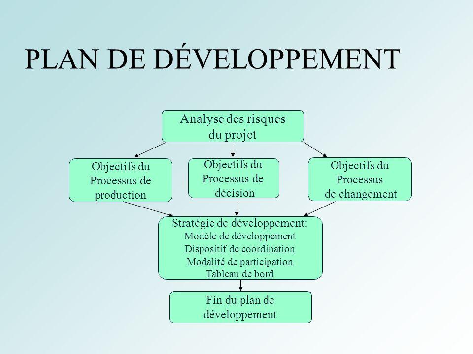 18 PLAN DE DÉVELOPPEMENT Analyse des risques du projet Objectifs du Processus de décision Objectifs du Processus de production Objectifs du Processus