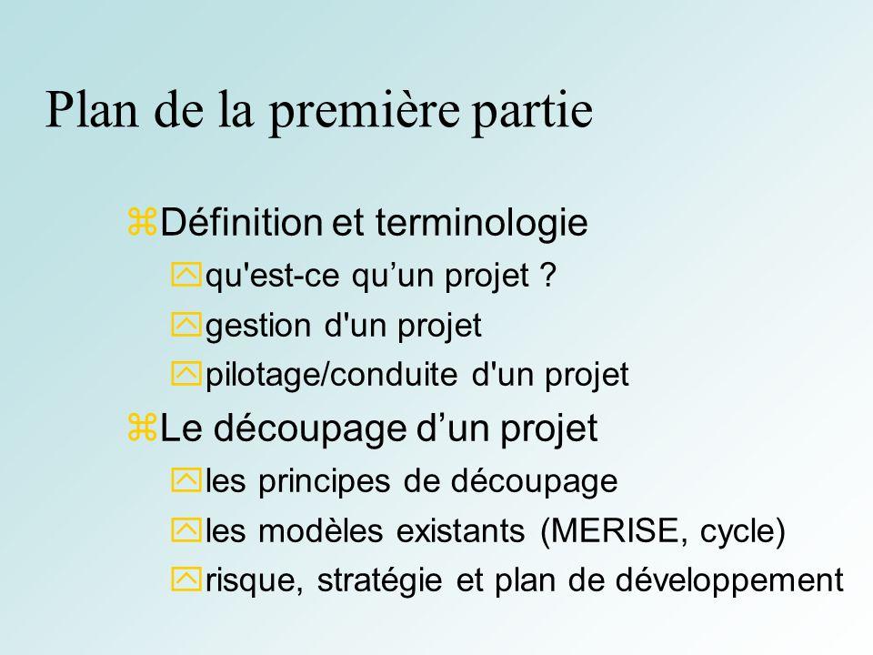 3 Plan de la première partie Définition et terminologie qu'est-ce quun projet ? gestion d'un projet pilotage/conduite d'un projet Le découpage dun pro