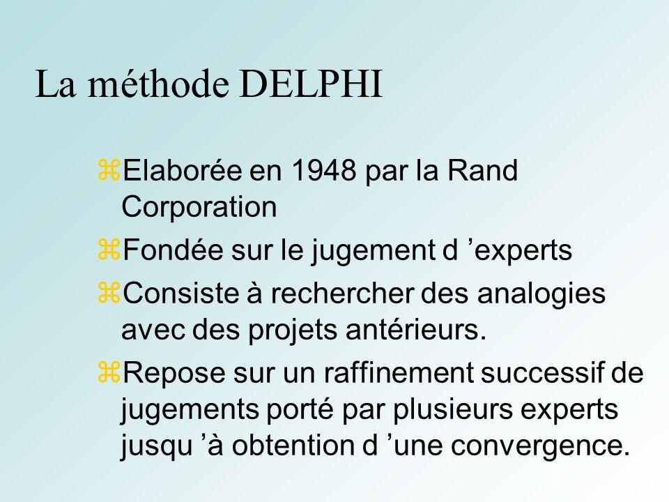 34 La méthode DELPHI Elaborée en 1948 par la Rand Corporation Fondée sur le jugement d experts Consiste à rechercher des analogies avec des projets antérieurs.
