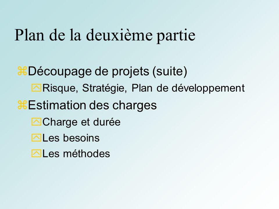 4 Plan de la deuxième partie Découpage de projets (suite) Risque, Stratégie, Plan de développement Estimation des charges Charge et durée Les besoins