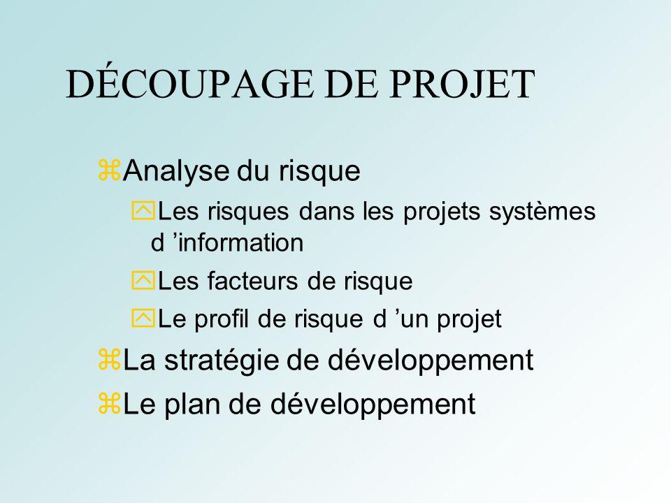 5 DÉCOUPAGE DE PROJET Analyse du risque Les risques dans les projets systèmes d information Les facteurs de risque Le profil de risque d un projet La stratégie de développement Le plan de développement