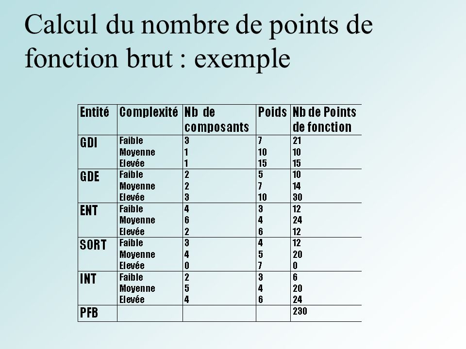 53 Calcul du nombre de points de fonction brut : exemple