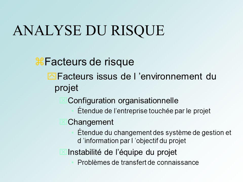 10 ANALYSE DU RISQUE Profil de risque d un projet Nature du risque Degré du risque pour le projet 0 1 2 3 4 5 Taille du projet Difficulté technique Degré d intégration Config.
