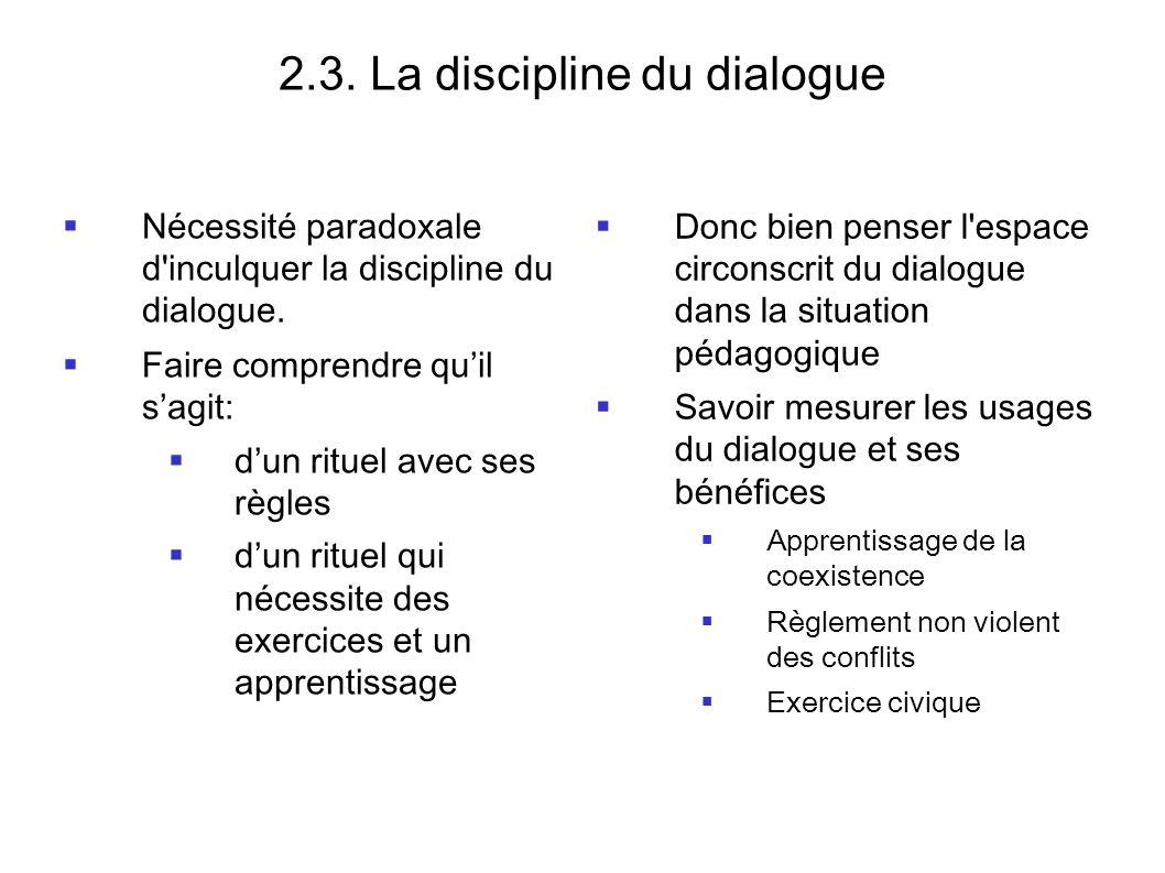 2.3. La discipline du dialogue Nécessité paradoxale d'inculquer la discipline du dialogue. Faire comprendre quil sagit: dun rituel avec ses règles dun