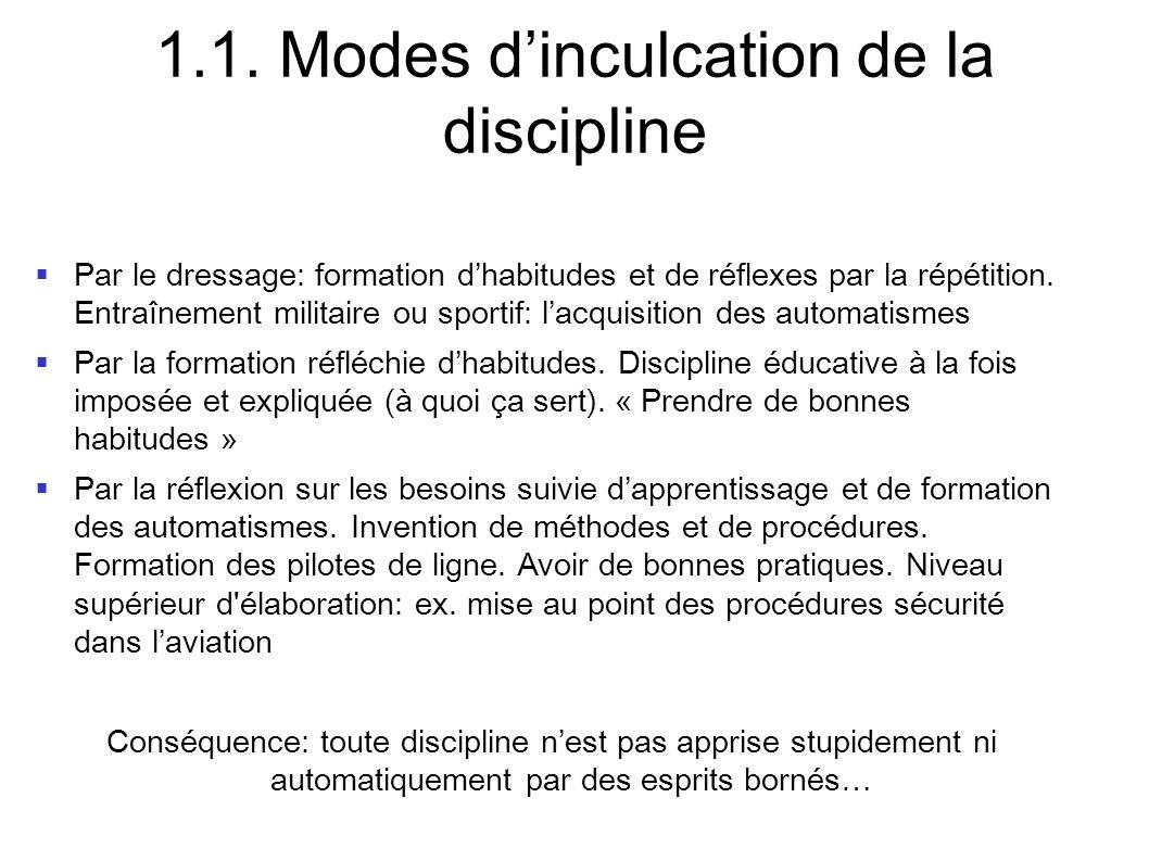 1.1. Modes dinculcation de la discipline Par le dressage: formation dhabitudes et de réflexes par la répétition. Entraînement militaire ou sportif: la