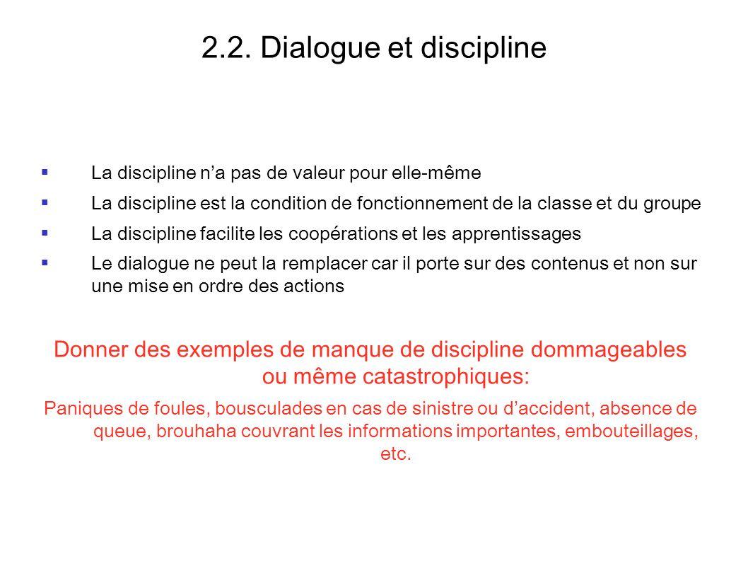 2.2. Dialogue et discipline La discipline na pas de valeur pour elle-même La discipline est la condition de fonctionnement de la classe et du groupe L