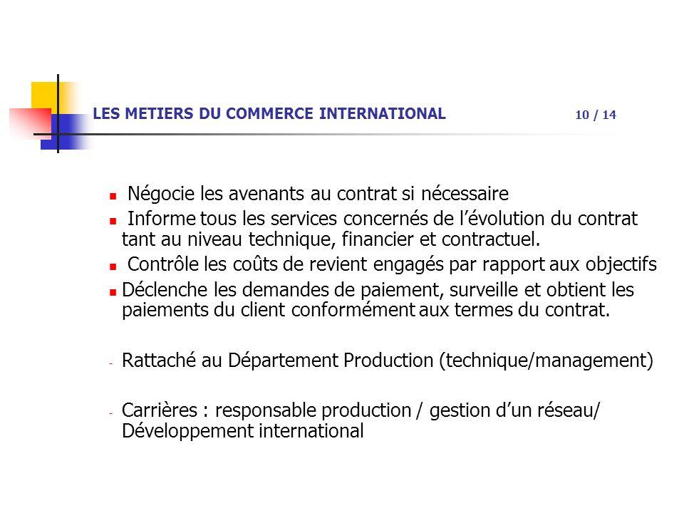 LES METIERS DU COMMERCE INTERNATIONAL 10 / 14 Négocie les avenants au contrat si nécessaire Informe tous les services concernés de lévolution du contrat tant au niveau technique, financier et contractuel.