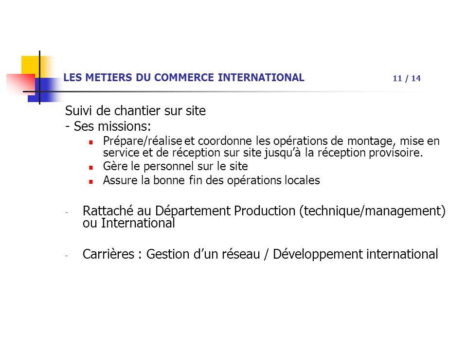 LES METIERS DU COMMERCE INTERNATIONAL 11 / 14 Suivi de chantier sur site - Ses missions: Prépare/réalise et coordonne les opérations de montage, mise en service et de réception sur site jusquà la réception provisoire.