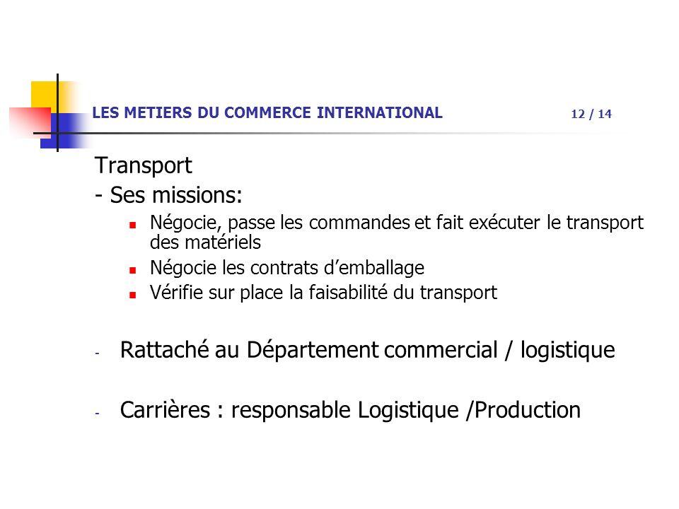 LES METIERS DU COMMERCE INTERNATIONAL 12 / 14 Transport - Ses missions: Négocie, passe les commandes et fait exécuter le transport des matériels Négocie les contrats demballage Vérifie sur place la faisabilité du transport - Rattaché au Département commercial / logistique - Carrières : responsable Logistique /Production