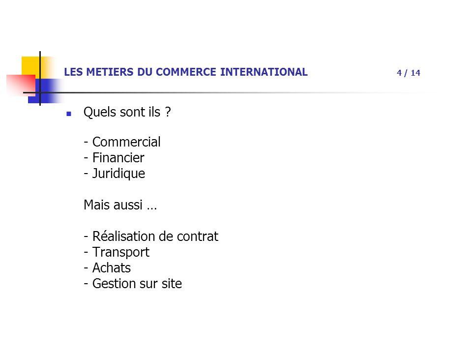 LES METIERS DU COMMERCE INTERNATIONAL 4 / 14 Quels sont ils .