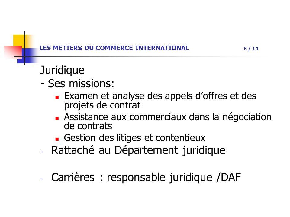 LES METIERS DU COMMERCE INTERNATIONAL 8 / 14 Juridique - Ses missions: Examen et analyse des appels doffres et des projets de contrat Assistance aux commerciaux dans la négociation de contrats Gestion des litiges et contentieux - Rattaché au Département juridique - Carrières : responsable juridique /DAF