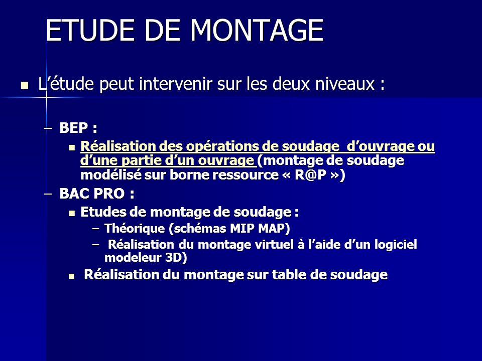 ETUDE DE MONTAGE Létude peut intervenir sur les deux niveaux : Létude peut intervenir sur les deux niveaux : –BEP : Réalisation des opérations de soud