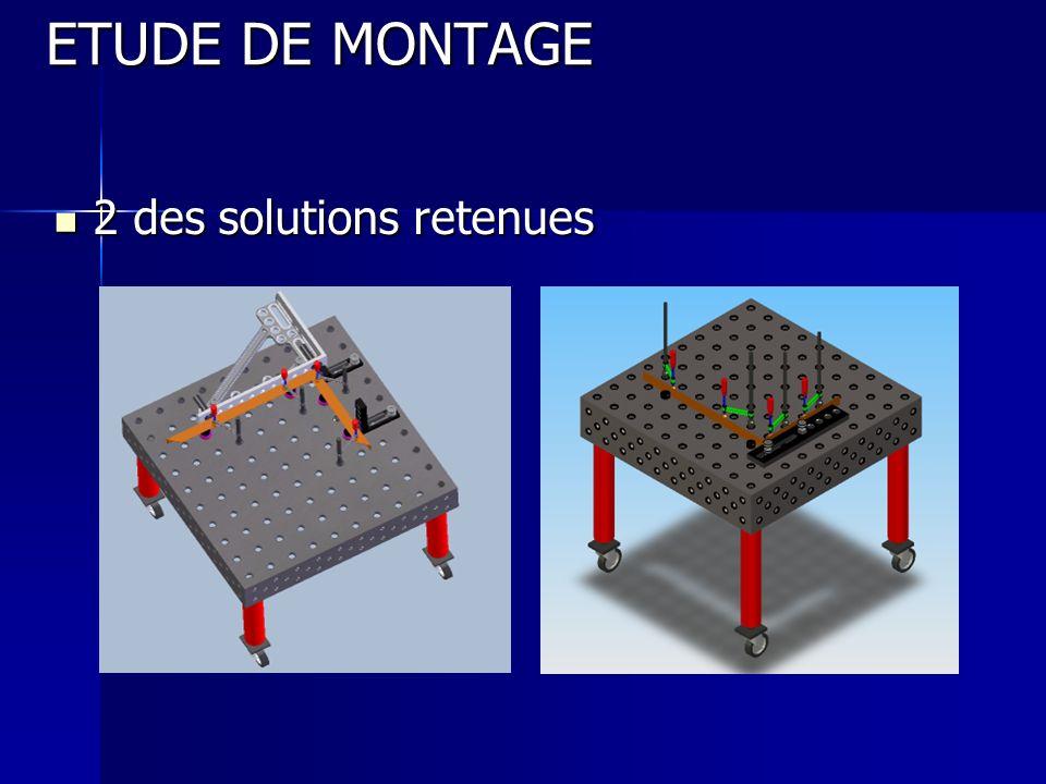ETUDE DE MONTAGE 2 des solutions retenues 2 des solutions retenues