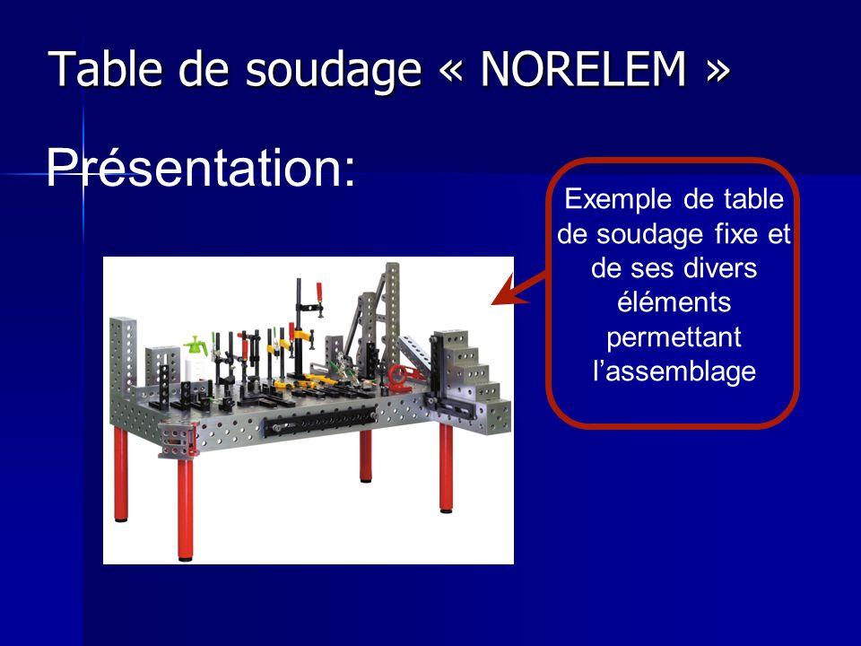 Table de soudage « NORELEM » Présentation: Exemple de table de soudage fixe et de ses divers éléments permettant lassemblage
