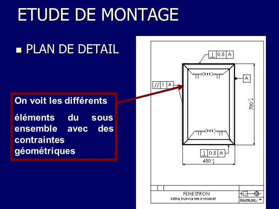 PLAN DE DETAIL PLAN DE DETAIL ETUDE DE MONTAGE On voit les différents éléments du sous ensemble avec des contraintes géométriques