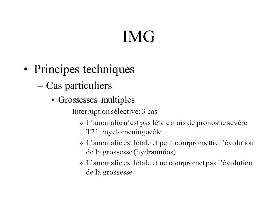 IMG Principes techniques –Cas particuliers Grossesses multiples –Interruption sélective: 3 cas »Lanomalie nest pas létale mais de pronostic sévère T21