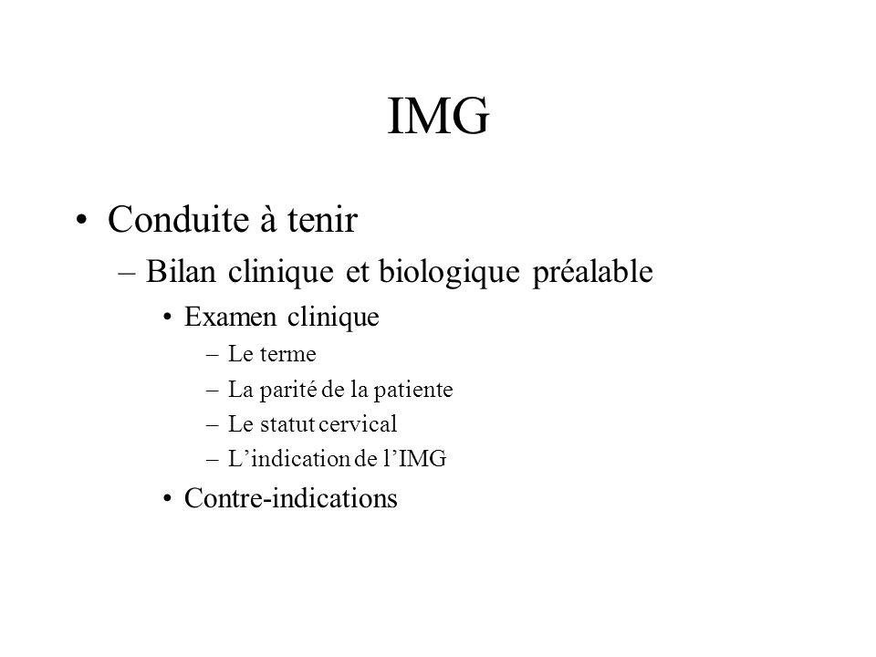 IMG Conduite à tenir –Bilan clinique et biologique préalable Examen clinique –Le terme –La parité de la patiente –Le statut cervical –Lindication de l