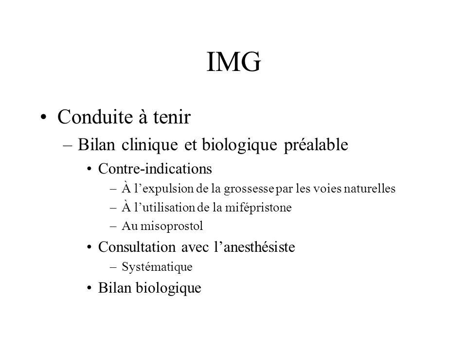 IMG Conduite à tenir –Bilan clinique et biologique préalable Contre-indications –À lexpulsion de la grossesse par les voies naturelles –À lutilisation