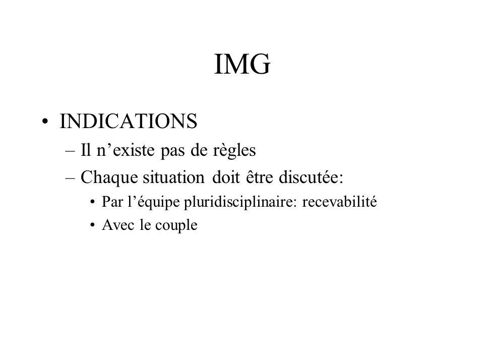 IMG INDICATIONS –Il nexiste pas de règles –Chaque situation doit être discutée: Par léquipe pluridisciplinaire: recevabilité Avec le couple