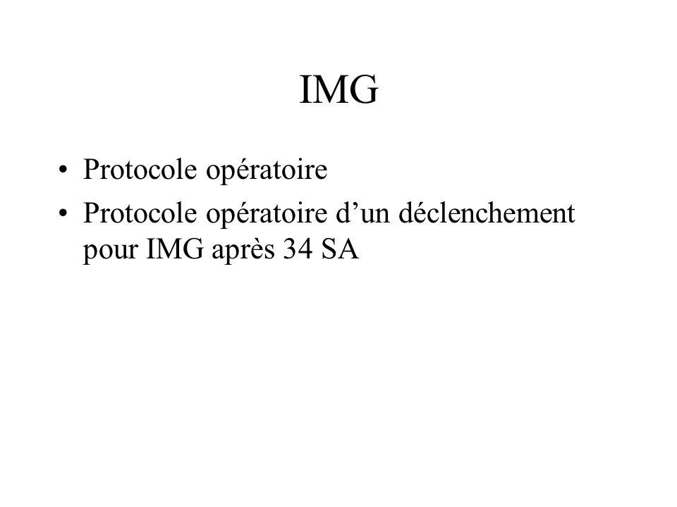 IMG Protocole opératoire Protocole opératoire dun déclenchement pour IMG après 34 SA
