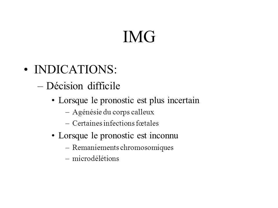 IMG INDICATIONS: –Décision difficile Lorsque le pronostic est plus incertain –Agénésie du corps calleux –Certaines infections fœtales Lorsque le prono