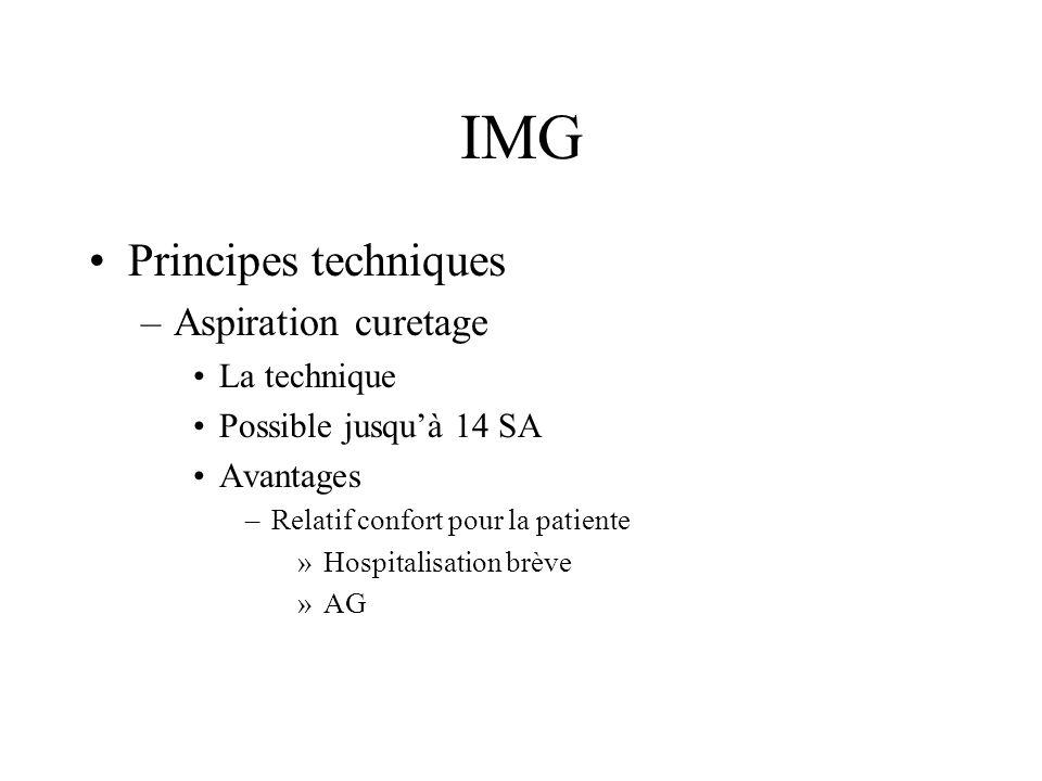 IMG Principes techniques –Aspiration curetage Inconvénients: surtout après 12 SA –Difficilement vécue psychologiquement par léquipe médicale –Ne permet que rarement la réalisation dun examen foetopathologique complet Technique