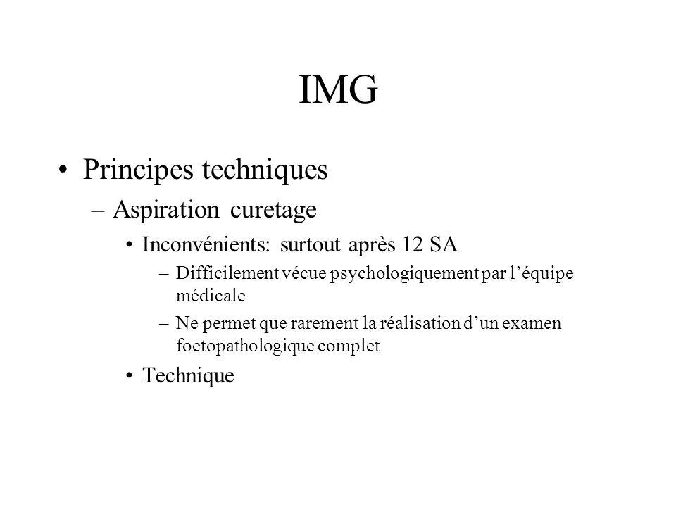 IMG Principes techniques –Aspiration curetage Inconvénients: surtout après 12 SA –Difficilement vécue psychologiquement par léquipe médicale –Ne perme
