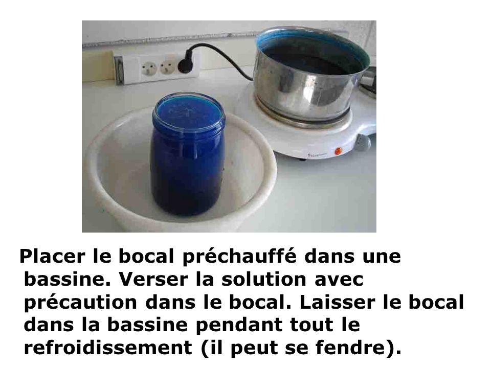 Placer le bocal préchauffé dans une bassine. Verser la solution avec précaution dans le bocal. Laisser le bocal dans la bassine pendant tout le refroi