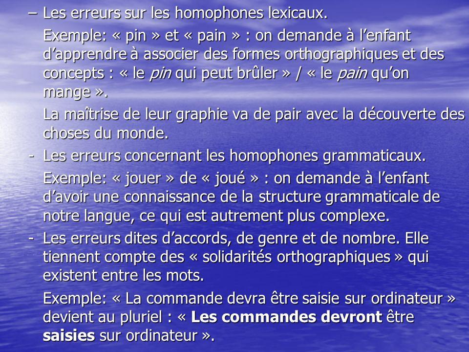 –Les erreurs sur les homophones lexicaux. Exemple: « pin » et « pain » : on demande à lenfant dapprendre à associer des formes orthographiques et des